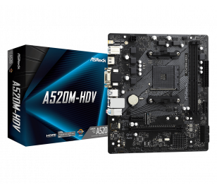 AsRock A520M-HDV Socket AM4, DDR4 4733+Mhz(O.C.), M.2, USB 3.2, HDMI, DVI, VGA mATX A520 Anakart