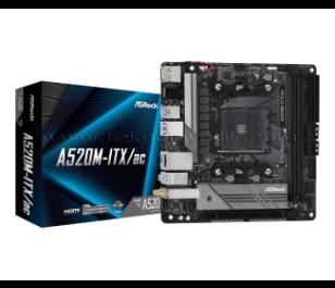 AsRock A520M-ITX/ac Socket AM4, DDR4 4733+Mhz(O.C.), M.2, USB 3.2, USB Type-C HDMI, DP, WI-FI + Bluetooth Mini-ITX A520 Anakart