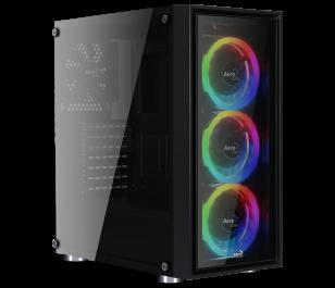 Aerocool Quartz REVO USB 3.0 4 x Adreslenebilir RGB Led Fanlı ve Güçlendirilmiş Camlı Siyah ATX Oyuncu Kasası