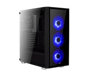 Aerocool Quartz Blue 600W 80+ Bronze USB 3.0 Mavi Led Fanlı ve Güçlendirilmiş Camlı Siyah ATX Oyuncu Kasası