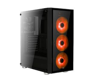 Aerocool Quartz Blue 500W 80+ USB 3.0 Kırmızı Led Fanlı ve Güçlendirilmiş Camlı Siyah ATX Oyuncu Kasası