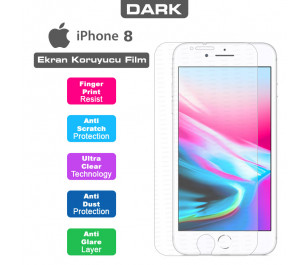 Dark iPhone 8 Uyumlu Anti Glare Ekran Koruyucu