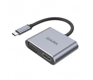 Dark USB 3.1 Type-C - VGA + HDMI Display Extended MST HUB