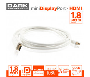 Dark 1.8 Metre Mini DisplayPort - HDMI Kablo