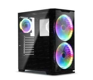 Dark Prestige 750W 80+ Bronze 2x20cm, 1x12cm RGB LED Fan, USB 3.0 Temperli Cam ATX Oyuncu Kasası ( Yeni )