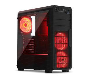 Dark Sentinel PRO 500W 80+ Bronze 3x Kırmızı 33x LED Fanlı, USB3.0, Cam Yan Panel Mid-Tower Siyah Oyuncu Kasası