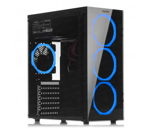DARK Spirit 500W USB 3.0, 4 x12cm Fanlı, Solid Mavi LED'li , Full Temperli Cam ATX Oyuncu Kasa