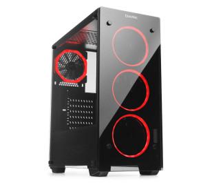 Dark VISION 4x12cm Dual Kırmızı Fan USB3.0 T-Glass ATX Oyuncu Kasa ( Yeni )