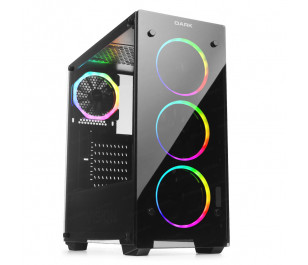 Dark VISION PRO 600W 80+ Bronze 4x12cm Dual ARGB Fan USB3.0 T-Glass ATX Oyuncu Kasa ( Yeni )
