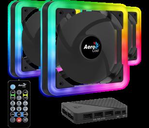 Aerocool Edge14 3 x 14cm ARGB Led Fan + Hub + Uzaktan Kumanda