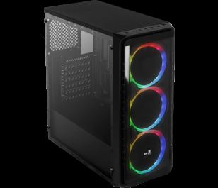 Aerocool SI-5200 RGB 500W 80+ 4x12cm Adreslenebilir RGB Fanlı Güçlendirilmiş Camlı Yan Panel USB 3.0 Mid Tower Siyah Oyuncu Kasası