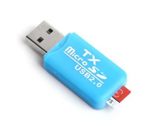 TX UCR204BL USB 2.0 MicroSD Kart Okuyucu - Mavi