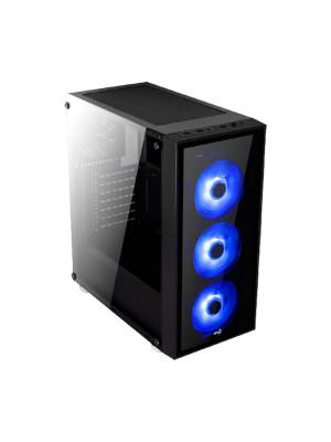 Aerocool Quartz USB 3.0 Mavi Led Fanlı ve Güçlendirilmiş Camlı Siyah ATX Oyuncu Kasası