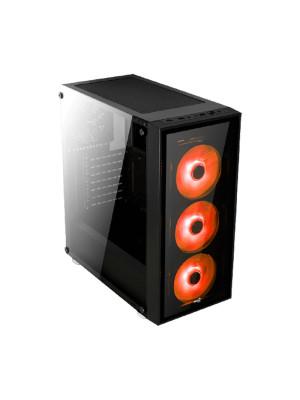 Aerocool Quartz Red 750W 80+ Bronze USB 3.0 Kırmızı Led Fanlı ve Güçlendirilmiş Camlı Siyah ATX Oyuncu Kasası