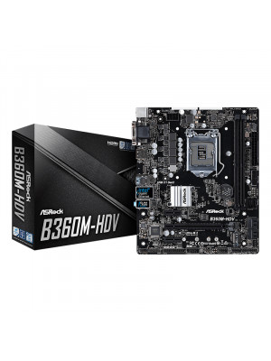 ASRock B360M-HDV Socket 1151, DDR4 2666MHz, Ultra M.2, USB 3.1 Gen2, HDMI/DVI/VGA, mATX Anakart