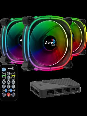 Aerocool Astro12 Pro 3 x 12cm ARGB Led Fan + Hub + Uzaktan Kumanda