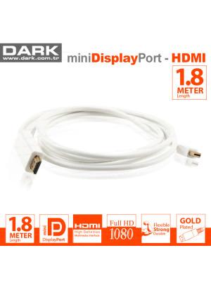 Dark 1.8 Metre Mini DisplayPort - HDMI Kablo