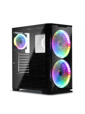 Dark Prestige 600W 80+ 2x20cm, 1x12cm RGB LED Fan, USB 3.0 Temperli Cam ATX Oyuncu Kasası ( Yeni )