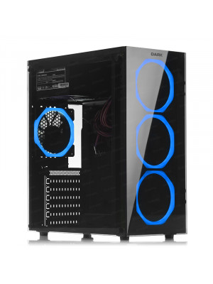 DARK Spirit 500W 80+ Bronze USB 3.0, 4 x12cm Fanlı, Solid Mavi LED'li , Full Temperli Cam ATX Oyuncu Kasa