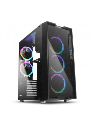 Dark UNREAL 600W 80+ Bronze 5x12cm Dual ARGB Fan USB3.0 T-Glass ATX Oyuncu Kasa ( Yeni )