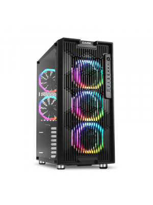 Dark UNREAL AIR 600W 80+ Bronze 5x12cm Dual Ring ARGB Fan USB3.0 T-Glass ATX Oyuncu Kasa ( Yeni )