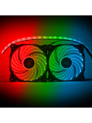 Dark Ultra Bright RGB Multi LED Fan ve Şerit Kit (2x120mm Fan ve 35cm LED Şerit)