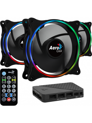 Aerocool Eclipse12 3 x 12cm ARGB Led Fan + Hub + Uzaktan Kumanda