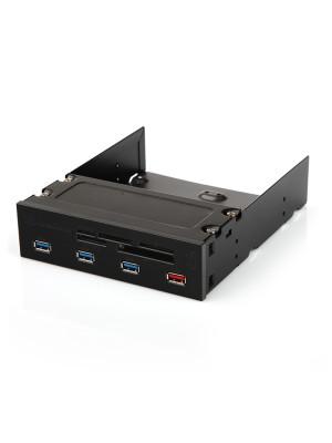 """Silverstone 2 Adet HDD/SSD Yuvalı, 4x USB 3.0, Hızlı Şarj, 17x Kart Okuyuculu,  5.25"""" Panel"""