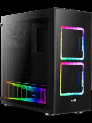 Aerocool Tor 600W 80+ 2x14cm Adreslenebilir RGB Fanlı Güçlendirilmiş Camlı USB 3.0 Mid Tower Siyah Oyuncu Kasası (AE-TOR-680)