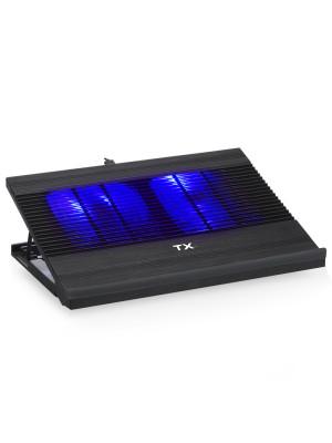 """TX 2x12cm Mavi LED Fanlı, 5xYükseklik Ayarlı, 11-17"""" Uyumlu, Fan Kontrolcülü Alüminyum Notebook Soğutucusu"""