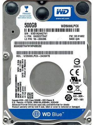 "WD 500GB Blue 2.5"" SATA III 6 Gb/s 5400 RPM 16MB Cache 7mm (WD5000LPCX)"