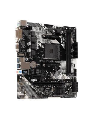 Asrock B450M-HDV R4.0 Socket AM4, DDR4 3200MHz+ (OC), Ultra M.2, USB 3.1 Gen1, HDMI, DVI, VGA mATX Anakart